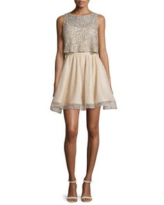 Hilta+Beaded+A-Line+Mini+Dress,+Gold+by+Alice+++Olivia+at+Neiman+Marcus.