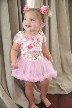 baby tutu dress baby floral tutu baby dress by PoshPeanutKids Baby Tutu Dresses, Tutu Outfits, Baby Dress, Girl Outfits, Flower Girl Dresses, Dress Girl, Tutu Rose, Pink Tutu, Birthday Tutu