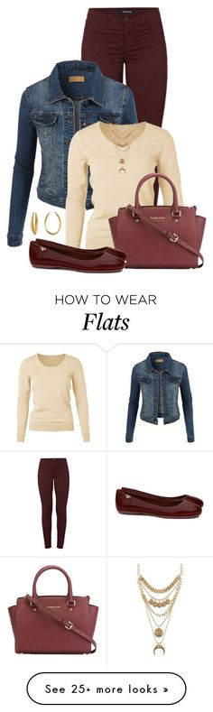 """Flats and a Denim Jacket"" by cris-1121 on Polyvore featuring J Brand, LE3NO, MICHAEL Michael Kors, Tory Burch, Diane Von Furstenberg and Charlotte Russe"