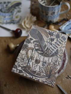 Part-engraved wood block in Angie Lewin's studio for her 'Alphabet & Feathers' limited edition print for the V&A - http://www.angielewin.co.uk