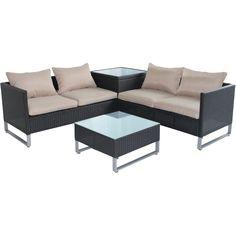 Pacific Rattan Garden Corner Sofa Set 4 Seater Black