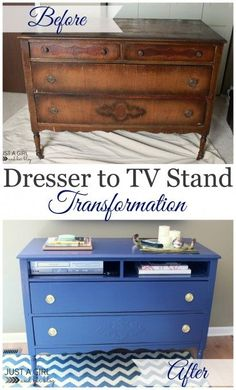 This old dresser got a new life as a TV stand thanks so some beautiful blue paint! | Just a Girl and Her Blog.