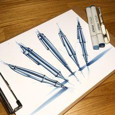 Pen Design, Sketch Design, Graphic Design, Design Concepts, Design Design, Sketch Markers, Copic Markers, Object Drawing, Industrial Design Sketch