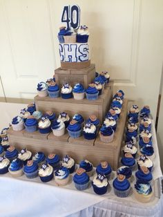 Cupcake tower I made for Chino High School 40 year reunion of class 1975.