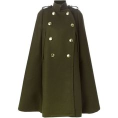 SACAI LUCK Military-Style Cape Coat (23,565 MXN) ❤ liked on Polyvore featuring outerwear, coats, military cape, brown coat, military style coat, military style wool coat y cape coat