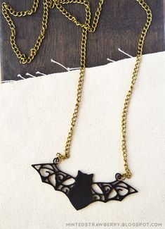 MINTED STRAWBERRY: Filigree Bat Necklace, make your own with shrink plastic and…