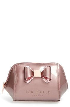 Ted Baker London 'Small Glitter Bow Trapeze' Cosmetics Case available at #Nordstrom