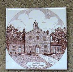 Vintage Souvenier Ceramic Hot Pad / Trivet Court House Port Tobacco Maryland