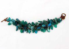 Emerald Bracelet  Fringe  Beaded by CherylParrottJewelry on Etsy, $74.95