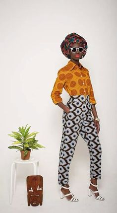 Mazel John African print trousers and shirt.I dont know why I love it but I dooooooo Mazel John African print trousers and shirt.I dont know why I love it but I dooooooo African Inspired Fashion, African Print Fashion, Africa Fashion, Fashion Prints, Fashion Design, African Prints, Tribal Fashion, African Attire, African Wear
