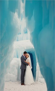 Ice castle portraits of the bride and groom. Captured By: Elegant Images #wchappyhour ---> http://www.weddingchicks.com/2014/06/07/wedding-chicks-happy-hour-12/
