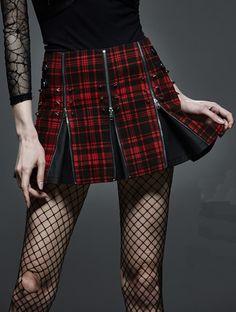 skirt transformable scottish gothic lolita punk zip tartan skirt nail Punkrave   eBay
