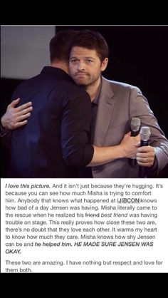 Jensen is a sweet, loving man...he can just take so much of the cruel and sick fans.he loves the kind and nice fans...Jared, Misha and the rest have his back and he has theirs when it starts getting bad!