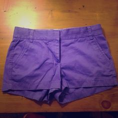 """J. Crew 3"""" chino shorts Like new, the ever popular 3"""" chino shorts from J. Crew. Purple color is great with black, white and navy tanks/tees for casual summer. Worn twice. J. Crew Shorts"""