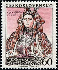 1955 Checoslovaquia-Trajes Tradicionales- Očová , Eslovaquia Traje de Novia