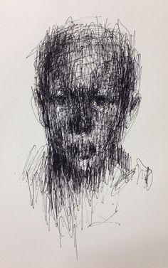 Kwang Ho Shin untitled ball pen on paper x cm 2013 Dark Drawings, Amazing Drawings, Abstract Portrait, Portrait Art, Portraits, Scribble Art, A Level Art, Surreal Art, Art Plastique
