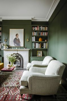 room decor 2019 Laura Jackson talks to Pandora Sykes about decorating a first home Dark green walls in the sitting room, a grand marble fireplace and reupholstered comfy armchairs Living Room Green, My Living Room, Living Room Interior, Home And Living, Modern Living, Cozy Living, Living Room With Color, Cottage Living Room Decor, Armchair Living Room