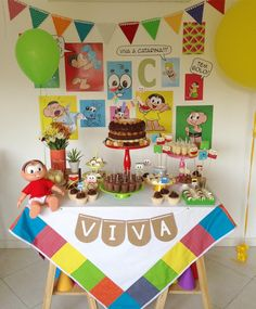 Mini table fofa e colorida da Turma da Monica! Bear Birthday, It's Your Birthday, Birthday Parties, Happy Birthday, Candy Stand, Monster Inc Party, Guest Gifts, Candy Table, Backdrops For Parties