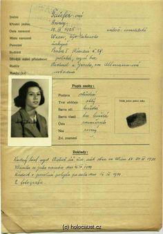Tauferová Anna: Identity card application. (Born 14. 09. 1925 last residence before deportation: Prague, I address/place of registration in the Protectorate: Prague II, tř. Viktoria 29 Transport Bf, č. 57 (08.09.1942 Prague -> Terezín) Transport Cs, č. 878 (26.01.1943 Terezín -> Auschwitz) Murdered)