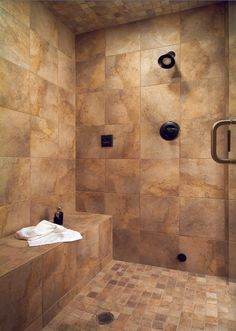 Large tile shower with bench