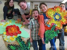 © Michelle Stitzlein | Bottle cap art: class recycle project or Market Day idea