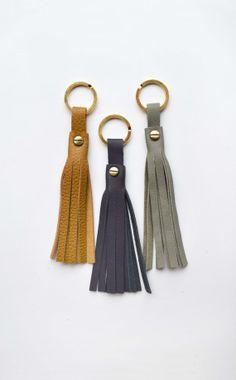Handmade Leather Tassel Keychain Screw Rivet Brown by TwoTickets