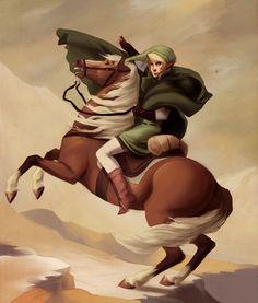 The Hero Crossing Death Mountain by *rollingrabbit on deviantART