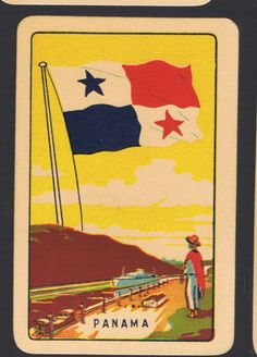 Playing-Swap-Cards-1-VINT-COLES-1ST-SERIES-NMD-FLAGS-PANAMA-K75