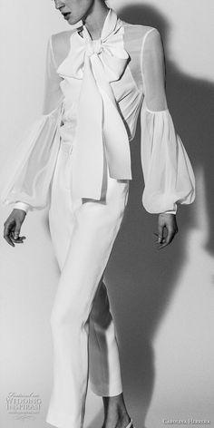 carolina herrera spring 2018 bridal long bishop sleeves jewel neck simple clean shirt pants wedding dress (07) mv -- Carolina Herrera Bridal Spring 2018 Wedding Dresses