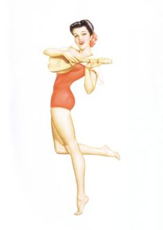 New Pin Up Girl Poster 11x17 Alberto Vargas Calendar June 1943 Tiki Hula Girl