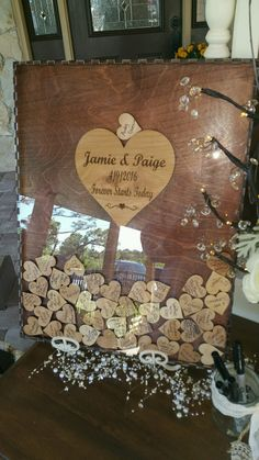 Wedding Guest book drop box (Alternate Guestbook) Shadow Box Guest Book, Sign & Heart Box, custom by RIPTideEngraving on Etsy