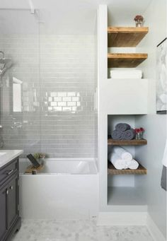 Find small bathroom ideas for bathroom remodel and bathroom modern, bathroom design, bathroom vanity, bathroom inspiration and more with before and after bathrooms Read Upstairs Bathrooms, Basement Bathroom, Master Bathroom, Bathroom Shelves, Tiny Bathrooms, Modern Bathrooms, Bathroom Closet, Bathroom Mirrors, Bathroom Marble