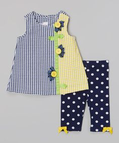 Loving this Navy Gingham Daisy Dress & Polka Dot Leggings - Infant on #zulily! #zulilyfinds