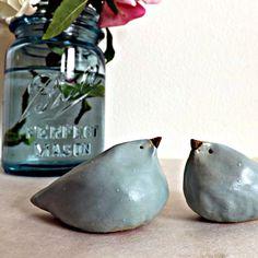 Sweet Seafoam Aqua Stoneware Birds. via Etsy.