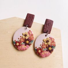 Image may contain: food Polymer Clay Ornaments, Polymer Clay Flowers, Polymer Clay Crafts, Handmade Polymer Clay, Diy Clay Earrings, Polymer Clay Necklace, Polymer Clay Pendant, Dangly Earrings, Polymer Clay Embroidery
