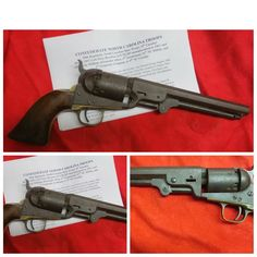 "Confederate used 4th NC Cavalry (59th Regiment NC State Troops)Colt .36 ""Navy"" revolver. Honest brown and untouched as they come, clear Colt Patent marking on barrel, S/N 99,585 as manufactured in 1861 with clear initials of William Alexander Allen who served as a 2nd Lt. in the 81st NC Militia as well as 1st Corporal, Co. A, 4th NC Cavalry. This unit was present at Gettysburg among many other battles in Virginia and Maryland. With archives records."