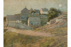 """Farmhouses on Monhegan Island,"" George Wharton Edwards, oil on canvas mounted on board. 18 1/2 x 25"", Bruce Museum."