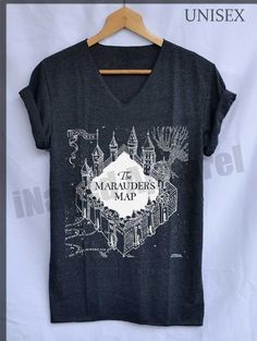 Marauder's Map Hogwarts Shirts Harry Potter Shirts V-Neck Unisex S M L on Etsy, $15.99