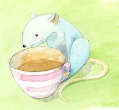 Mouse Enjoying Tea * watercolour * Mariana Musa