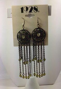 1928 Jewelry Co. Earrings Green w Rhinestones Dangle/Drop Hook Style NEW #1928JewelryCompany #DropDangle