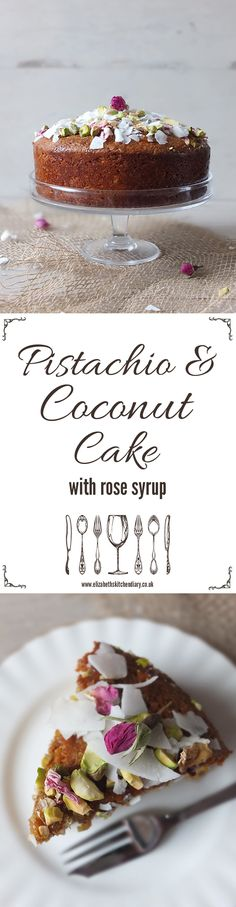 Freshly ground pistachio nuts and coconut lend a Middle Eastern feel to this cake soaked in rose syrup.