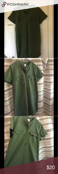 J Crew dress Year round style! This cute army green dress goes with everything. Size 14. Excellent condition worn only once. (It's wrinkly from storage) J. Crew Dresses