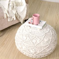 LR Resources Mystic Macrame Natural Round 20 in. x 16 in. Indoor Pouf Ottoman#ad