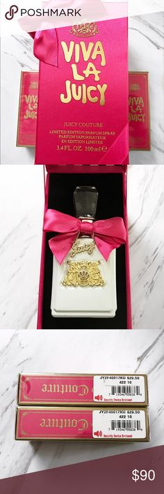 Limited edition Viva La Juicy perfume & minis Includes limited edition 3.4 oz parfum in white packaging, small purse sizes and luxury box. The 3.4 oz has been used a small number of times. 95% of product still left. The price reflects the cost of the 3.4 oz so you're basically getting the 2 small ones for free. Juicy Couture Other
