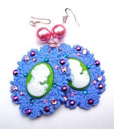 Cameo earrings  purple vintage frame by sparklecityjewelry on Etsy, $22.00