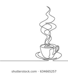 Continuous line drawing of cup of coffee. Vector illustration Continuous line drawing of cup of coffee. Drawing Cup, Coffee Cup Drawing, Contour Line Drawing, Coffee Art, Line Drawing Art, Coffee Line, Coffee Doodle, Contour Drawings, Drawing Hands