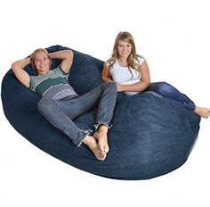 SLACKER Sack Giant Memory Foam Microsuede Beanbag Lounger, Navy SLACKER  Sack Gigantic Foam Beanbag Chair Loungers Are The Most Comfortable, Fun And