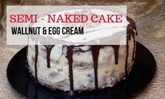 This is a beautiful and lovely naked cake made with greek yogurt and walnuts, which gives it a fluffy texture. The filling is a divine egg cream. This cake makes a spectacular centerpiece!