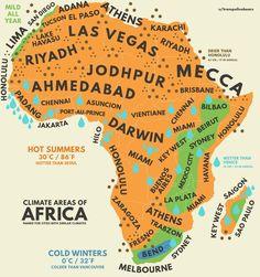 Африканский климат с эквивалентными городами со всего мира