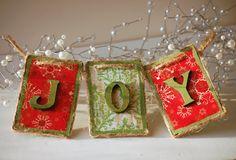 Joy wooden Christmas tree ornament